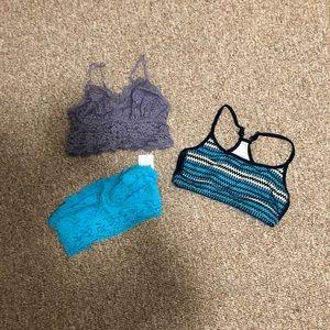 Lot of 3 bras - 2 bralettes, 1 sports bra